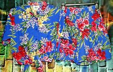 Vintage Byer California Blue Hawaiian Floral 2 Piece Shorts & Crop Top Size M