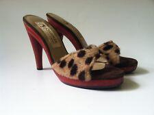 Cherokee women shoe vintage 70s slip on open toe faux leopard wood high 7 B