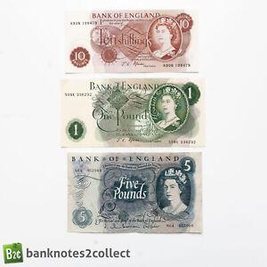 ENGLAND: Set of 3 English Pound Banknotes. Fforde.