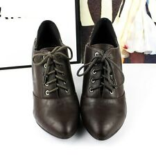 """Women laceup faux leather bootie 3 1/4"""" heels dark brown size US 6 new"""