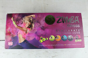 Zumba Fitness Exhilarate Body Shaping System 5 DVD SET Guide & Two Toning Sticks
