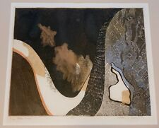 Vintage Abstract Serigraph Print Wall Hanging Mid Century Modern Framed Signed