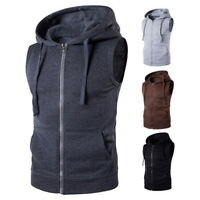 Men Male Casual Hooded Vest Sleeveless Lightweight Slim Fit Tank Hoodies Gilet