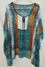 MSRP $49.00 NWT NY COLLECTION PLUS 1X TIE LACE CROCHET YELLOW  SHEER BLOUSE TOP