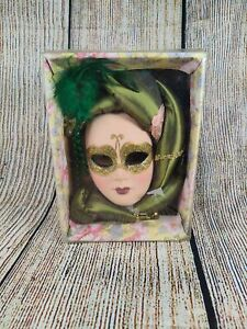 Brand new mardi gras ceramic mask (green)