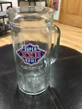 "Vintage NFL 1988 Super Bowl XXII 22 7"" Glass Mug Denver Vs. Washington"