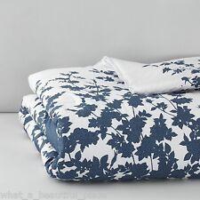 3-Pc Barbara Barry Kimono King Duvet Cover Set Blue White Japanese Garden Flower