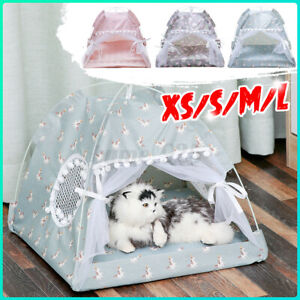 XS/S/M/L Pet Tent Cat Bed Puppy House Cushion Pad Bed Flamingo Pattern Indoor AU