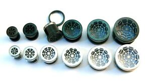 Cobweb Surgical Steel Flesh Tunnel Ear Plug Screw Body Jewellery Lobe 2mm-16mm