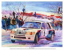 A3 impression artistique-M. Ari Vatanen-PEUGEOT 205 T16-Monte 85