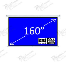"160"" Electric HD Projection Screen Projector Home Cinema 16 9 Matt Grey"