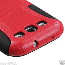 Samsung Galaxy S3 i9300 Hybrid Fusion Case Skin Cover Accessory Red Black
