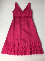 Monsoon Hot Pink Silk Blend Dress UK 14 Fuschia Bow Detail Sleeveless Ruffles