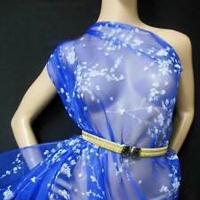 Royal Blue w White Blossom Print 100% pure silk organza fabric by the Yard Voile