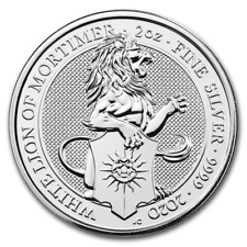 Queens Beasts White Lion of Mortimer Löwe 2020 2 oz 999 Silbermünze 5 Pound