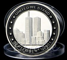 """"""" 911  """" - Silver Plated Commemorative Novelty Art-Coin: """" United We Stand """""""