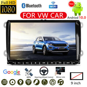 """9"""" Double 2Din Android 10.0 Car Stereo Radio FM MP5 Player Sat Nav GPS BT For VW"""