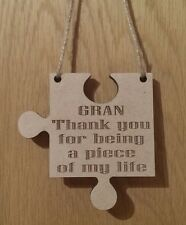 Piece Of My Life Jigsaw Piece Laser Engraved Thank You Keepsake  Gift Gran
