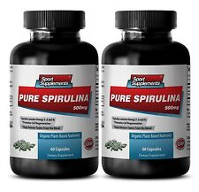 Organic SPIRULINA 500mg 100% Plant-Based Dietary Powder Vitamin B-9 2Bott