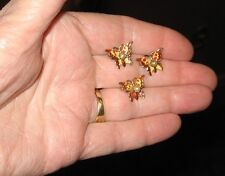 3 Miniature Vintage Matching BUTTERFLY Pins Enamel with Pearl