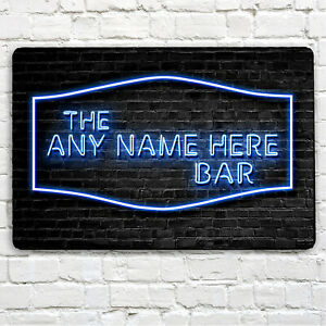 Personalised Bar Sign - home bar, ANY NAME, A4 sign, blue neon Effect Bar sign