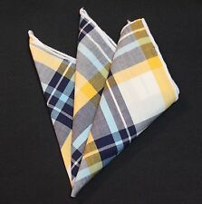 Hankie Pocket Square Cotton Handkerchief Blue Yellow White CH088