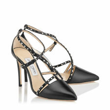 Jimmy Choo Tiff Pointy Toe PUMPS Studed Criss Cross Embellished HEELS Shoe 38 -7