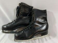 Vintage mens Laurentian leather Figure Skating Ice Skates shoes Size 9.
