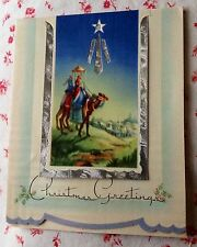 Vintage 1940s Silver Foil Christmas Greeting Card Wise Men Following Star