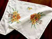 VINTAGE HAND EMBROIDERED WHITE LINEN TRAY CLOTH TABLE CENTRE 18X13 Inches