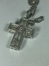 """16"""" 14K Solid WhIte Gold Necklace Chain & 0.27 CTW Natural Diamond Cross Pendant"""