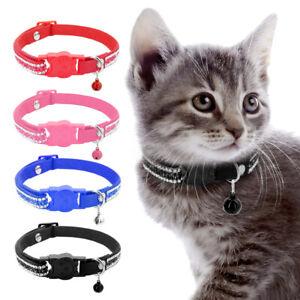 Rhinestone Diamond Cat Collar Quick Release Soft Leather Kitten Collar Free Bell