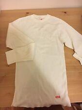 Supreme Hanes White Thermal Long Sleeve T-Shirt Small
