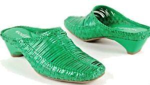 NIB MODELLISTA Green Leather Woven Divine Mules Slides SHOES 6