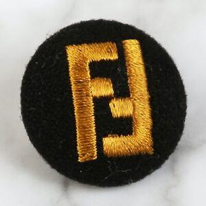 "AUTH Fendi Fabric Vintage Large Gold & Dark Navy 1"" RARE!!!"