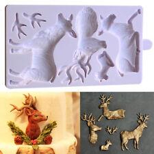 3D Molde de Silicona Navidad Ciervo Cuerno Fondant Pastel Repostería Glaseado Molde de cabeza de animal