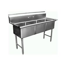 "3 Compartment Stainless Steel Sink 18""x18"" No Drainbrd"