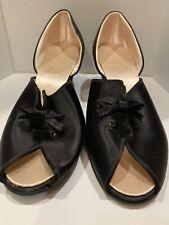 Great Vintage 1940's Size 8 + Daniel Green Peep Toe Comfy Black Satin Slippers
