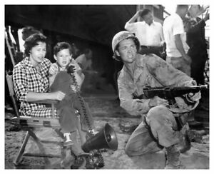 AUDIE MURPHY WITH WIFE AND SON ON TO HELL AND BACK MOVIE SET