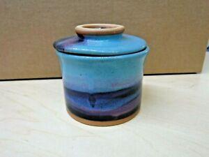 """ALWAYS AZUL POTTERY Butter Bell Art Pottery Blue Aqua Pink Glaze-3.5""""x4"""""""