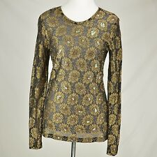 KAREN KANE Black Gold Stretch Knit Top Floral Sparkle NEW Sheer Shirt Beaded M
