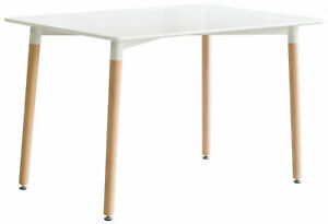 Mid-Century Modern Rectangular 4 Ft. Dining Table with White Tabletop and Solid