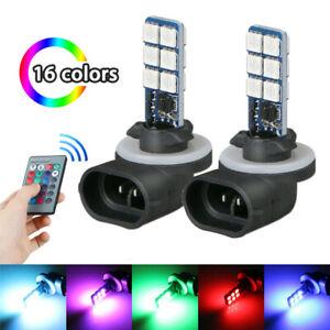 2 pcs Car Colourful 881 5050 LED RGB Headlight Fog Lights Lamp Bulb Accessories