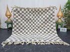 "Moroccan Handmade Beni Ourain Rug 5'3""x5'1"" Berber Checkered White Gray Carpet"