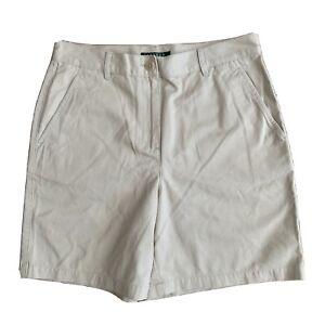 Lauren Ralph Lauren Tan Bermuda Shorts 100% Cotton Flat Front Khaki Sz 6 EUC