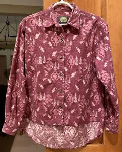 CABELAS Womens Chamois Flannel Button Up Shirt Aztec Southwest Size Medium