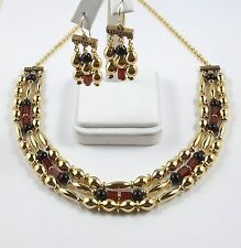"""Egyptian 3 Strand Necklace & Earring Set Onyx, Carnelian & Gold-Plated Beads 18"""""""