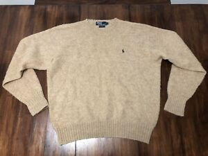 Polo Ralph Lauren Crewneck Sweater Vintage Warm Fuzzy 100% Wool Men's XL