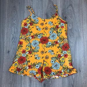 Cotton On Romper Linen Blend Playsuit Sz XL Retro Floral Boho Hippy  EUC Q1