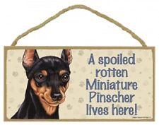 "5"" x 10"" Wooden Sign Plaque miniature pinscher a spoiled rotten dog lives here"
